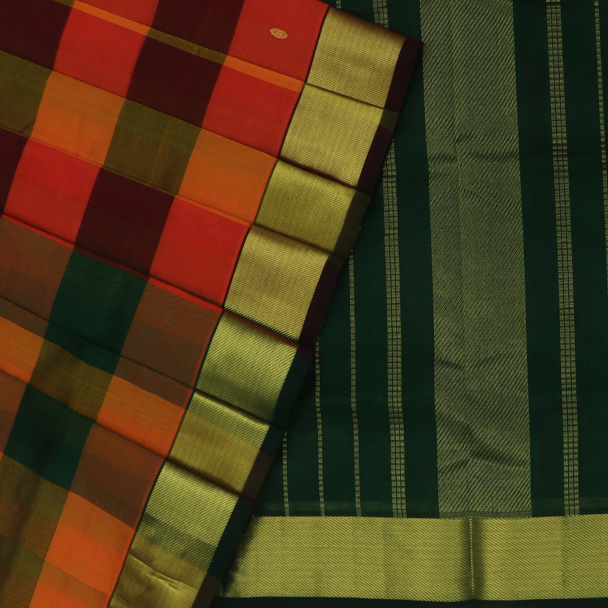 Silk Cotton Saree-Orange and Dark Green Paalum pazham with butta and Simple zari border
