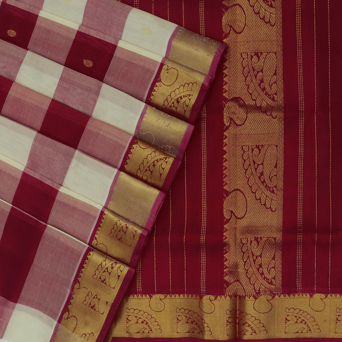 Silk Cotton Saree-Red and White Paalum pazham with butta and Mango zari border