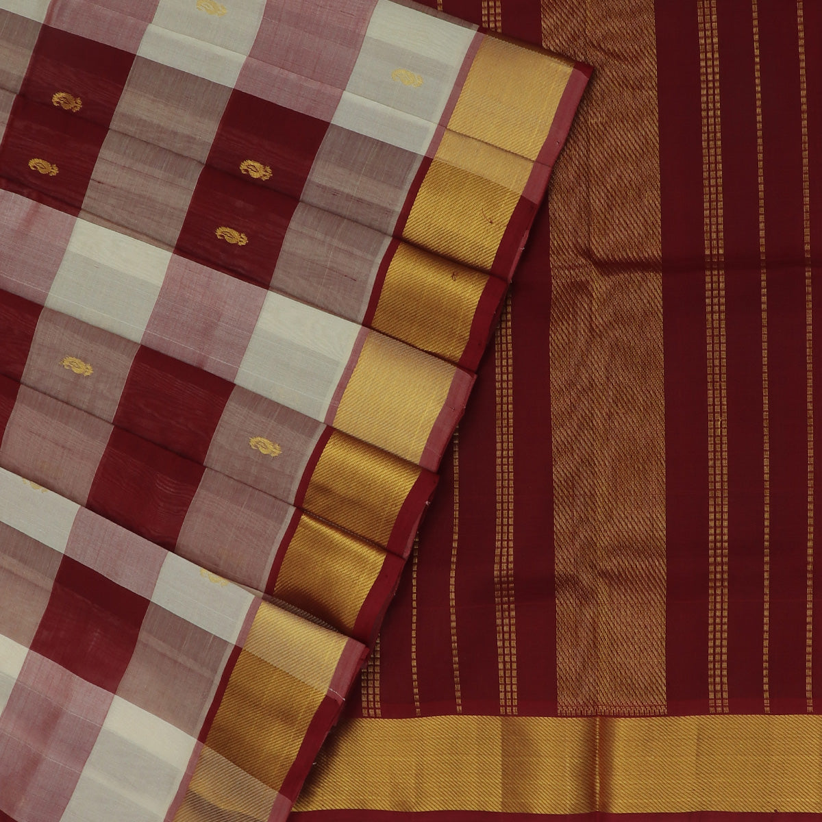 Silk Cotton Saree-Maroon and White Paalum pazham with butta and Bavanji zari border