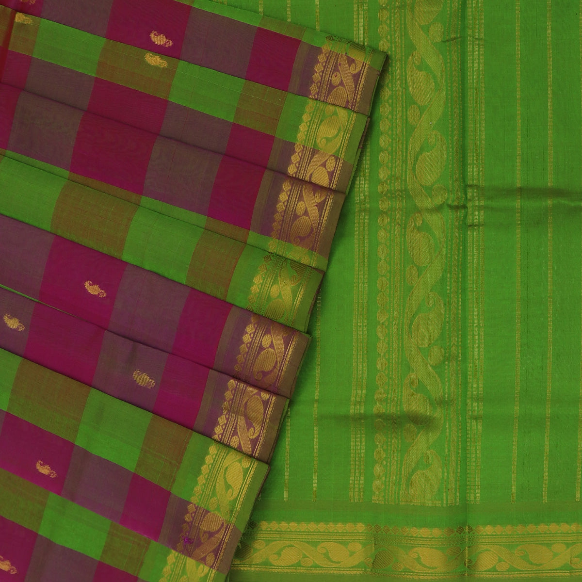 Silk Cotton Saree-Mehandi Green and Magenta Paalum pazham with butta and Mango zari border