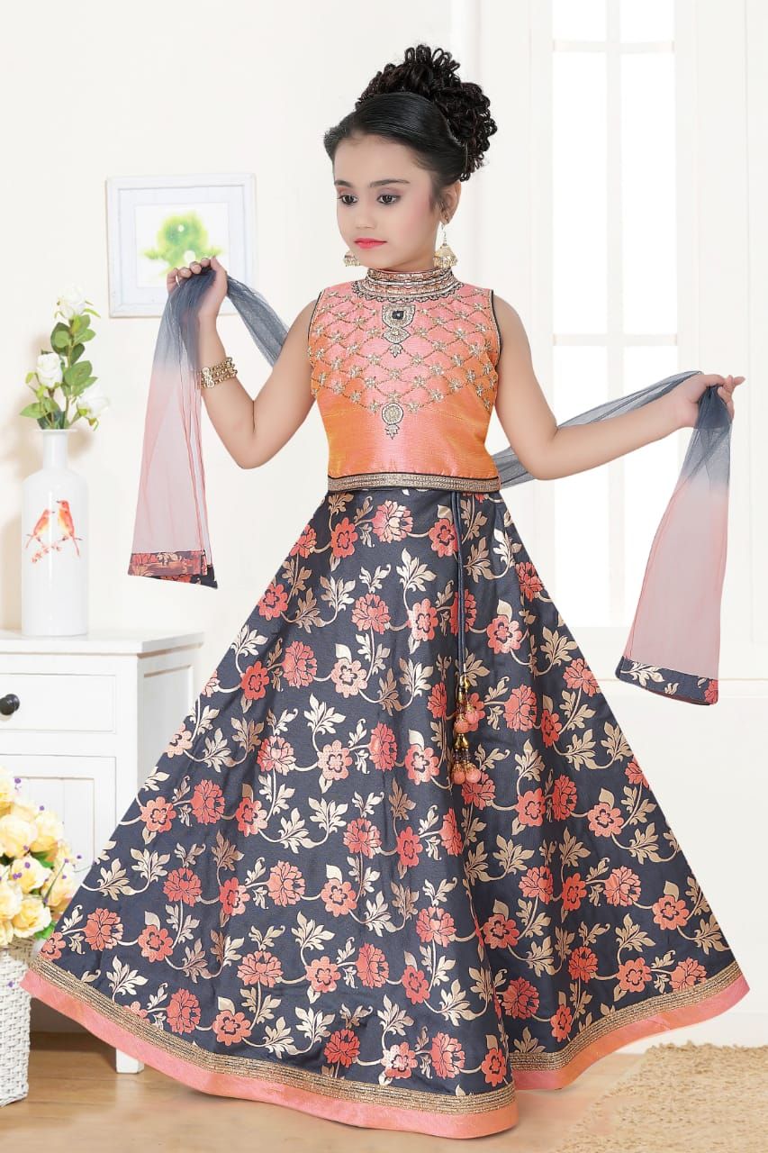 Kids Fancy Lehenga-Light Orange and Grey with Floral Digital Print and Embroidery Blouse for Rs.Rs. 2350.00 | Kid's Paavadai Sattai by Prashanti Sarees