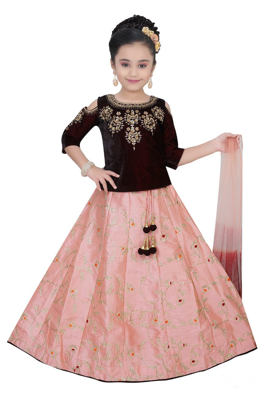 Kids Fancy Lehenga-Brown and Light Orange with Floral Embroidery and Velvet Blouse