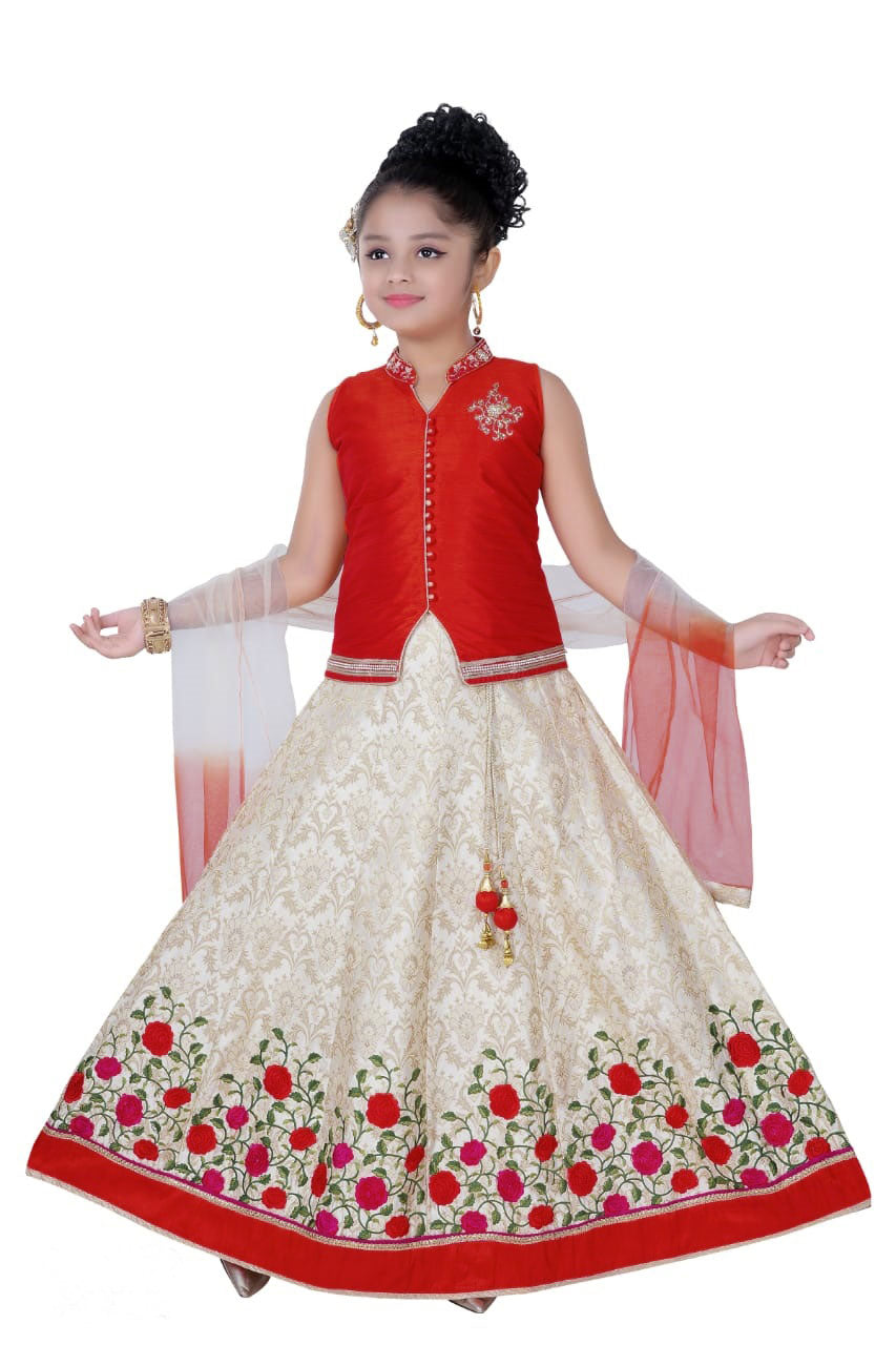 Kids Fancy Lehenga-Red and Sandal with Flower Embroidery and Blouse for Rs.Rs. 2350.00 | Kid's Paavadai Sattai by Prashanti Sarees