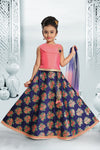 Kids Fancy Lehenga-Peach and Blue with Floral Digital Print and Embroidery Blouse for Rs.Rs. 2350.00 | Kid's Paavadai Sattai by Prashanti Sarees