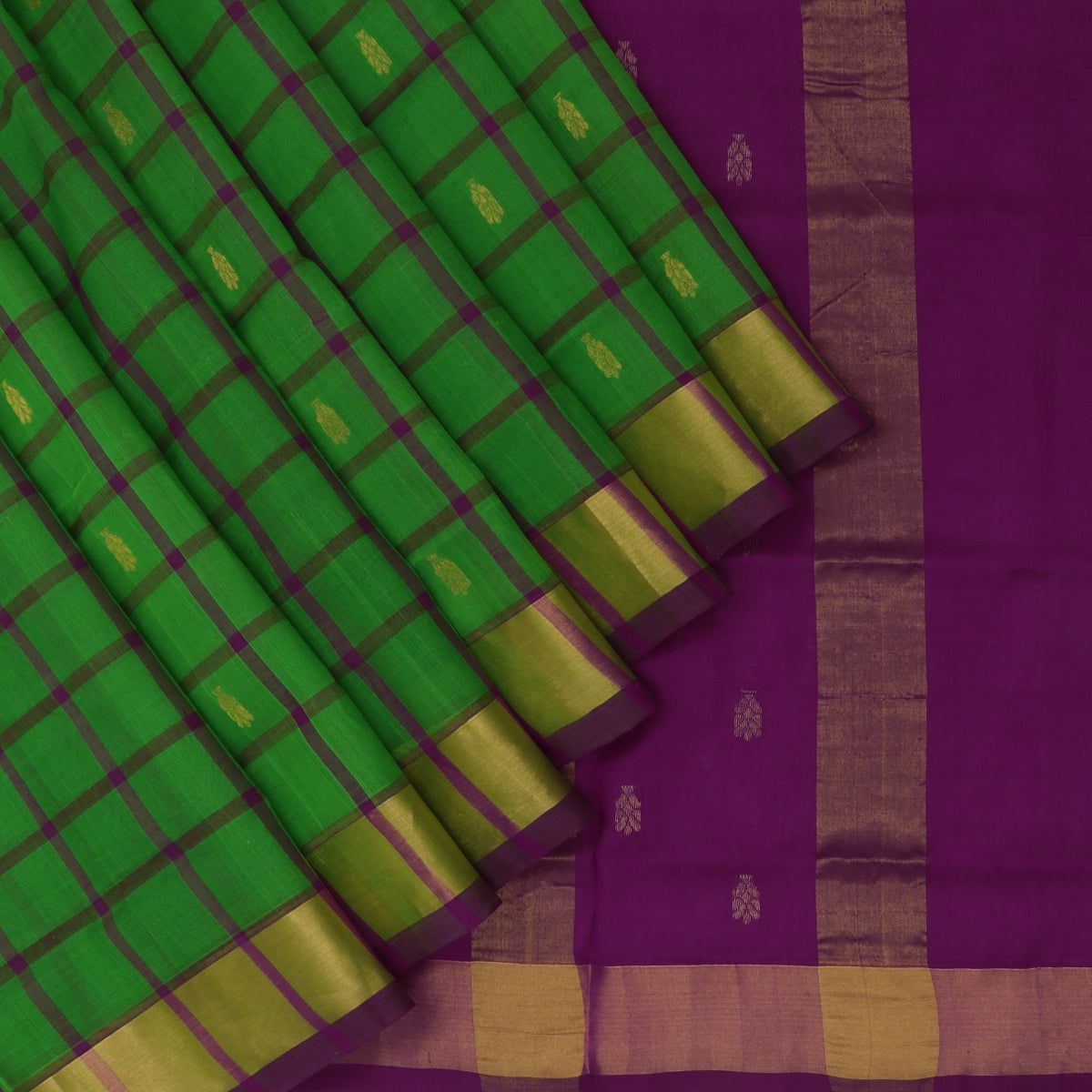Silk Cotton Saree-Green and Violet Checks with Butta and zari border
