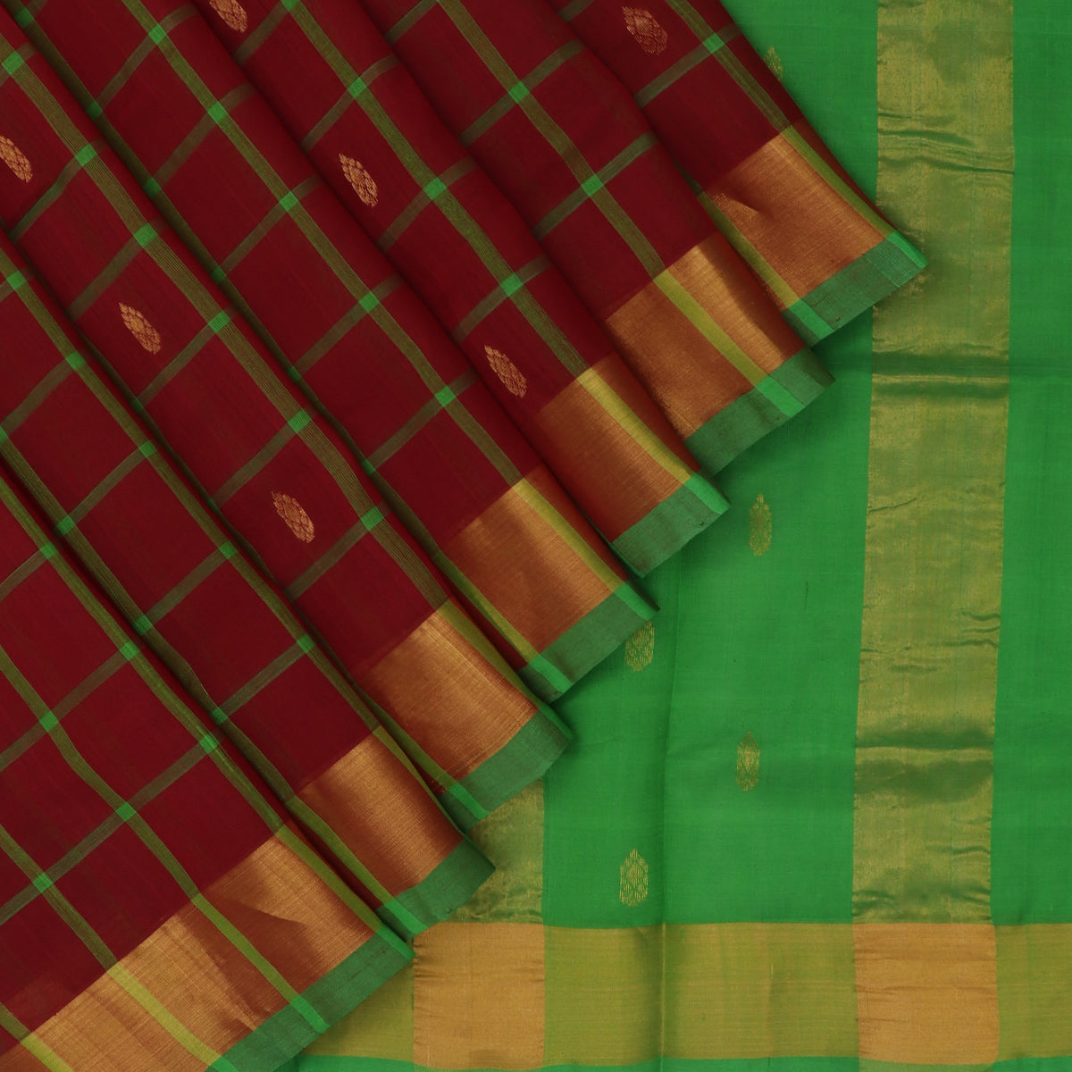 Silk Cotton Saree-Maroon and Parrot Green Checks with Butta and zari border