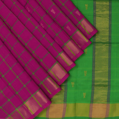 Silk Cotton Saree-Pink and Parrot Green Checks with Butta and zari border