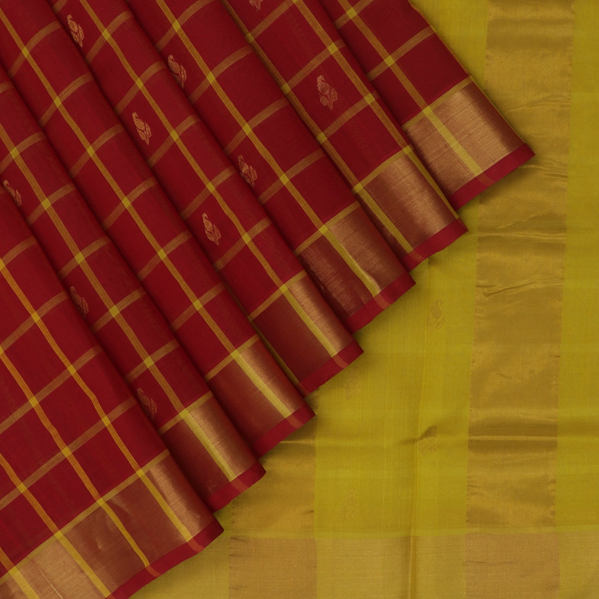 Silk Cotton Saree-Maroon and Yellow Checks with Butta and zari border
