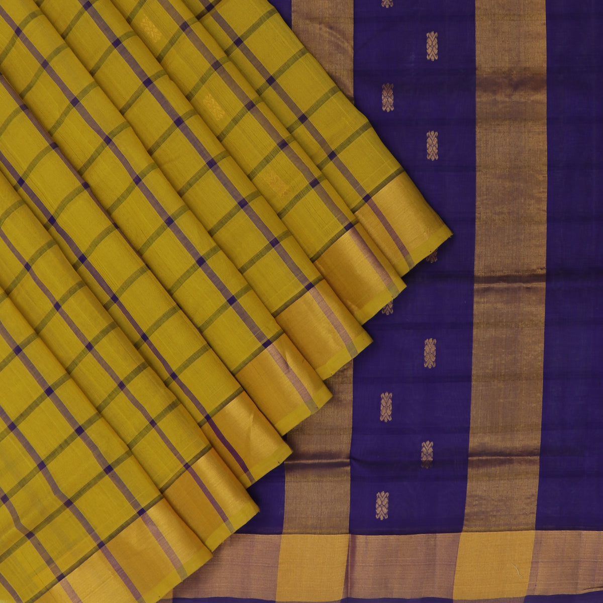 Silk Cotton Saree-Yellow and Blue Checks with Butta and zari border