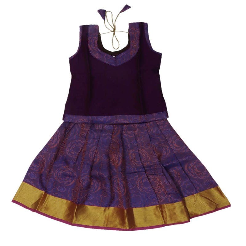 Silk Paavadai Sattai -Violet and Purple with zari border (1 year)