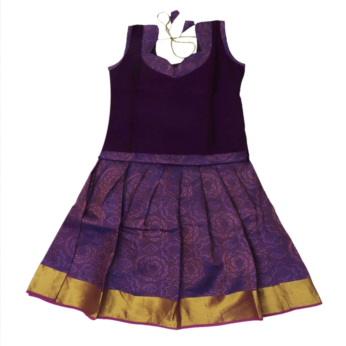 Silk Paavadai Sattai -Violet and Purple with zari border (2 years)