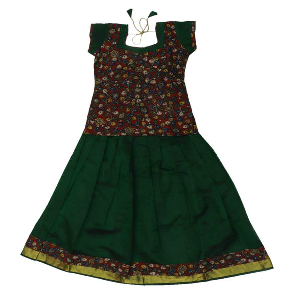 Kalamkari Paavadai Sattai -Red and Dark Green with Wave zari border (7 years)