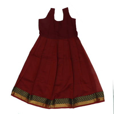 Silk Cotton Paavadai Sattai -Black and Red with Wave zari border (8 years)
