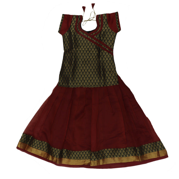 Silk Cotton Paavadai Sattai -Black and Red with Wave zari border (5 years)