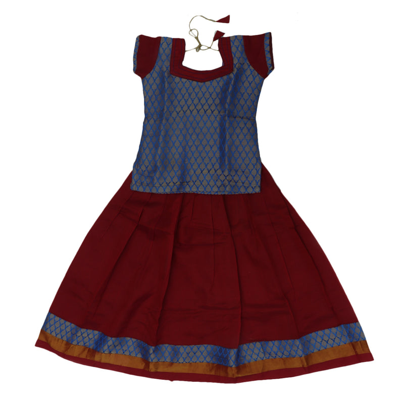 Silk Cotton Paavadai Sattai -Blue and Red with Buds zari border (6 years)