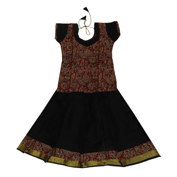Kalamkari Paavadai Sattai -Maroon and Black with Wave zari border (4 years)
