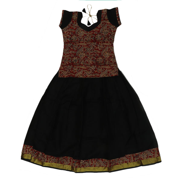 Kalamkari Paavadai Sattai -Maroon and Black with Wave zari border (8 years)