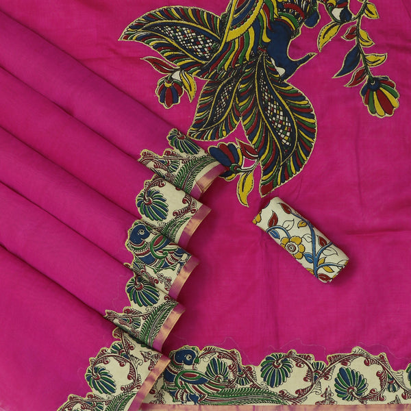Silk Cotton Saree-Pink with Simple border and Kalamkari applique work with kalamkari Blouse