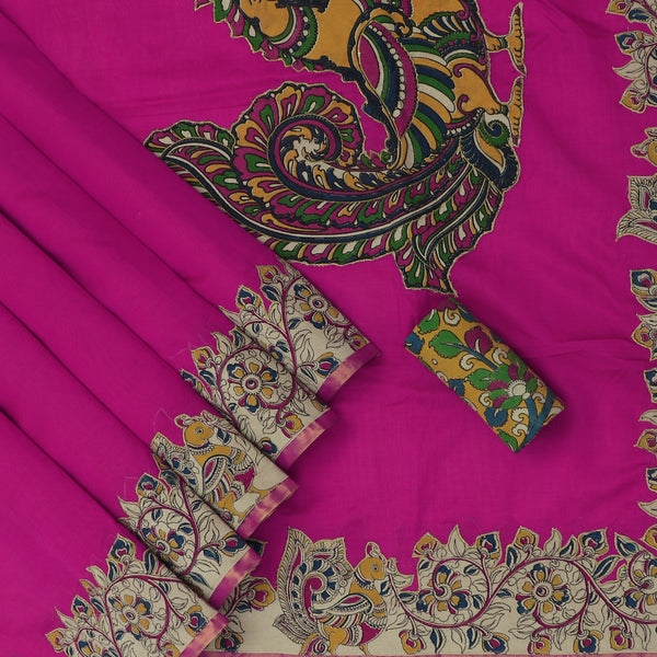 Silk Cotton Saree-Pink with Floral Kalamkari applique work with kalamkari Blouse