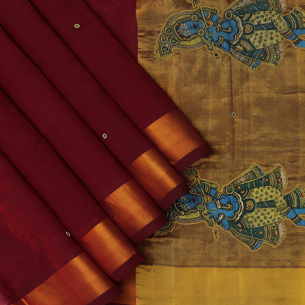 Silk Cotton Saree-Maroon with Simple border and Embroidery Kalamkari applique work with kalamkari Blouse