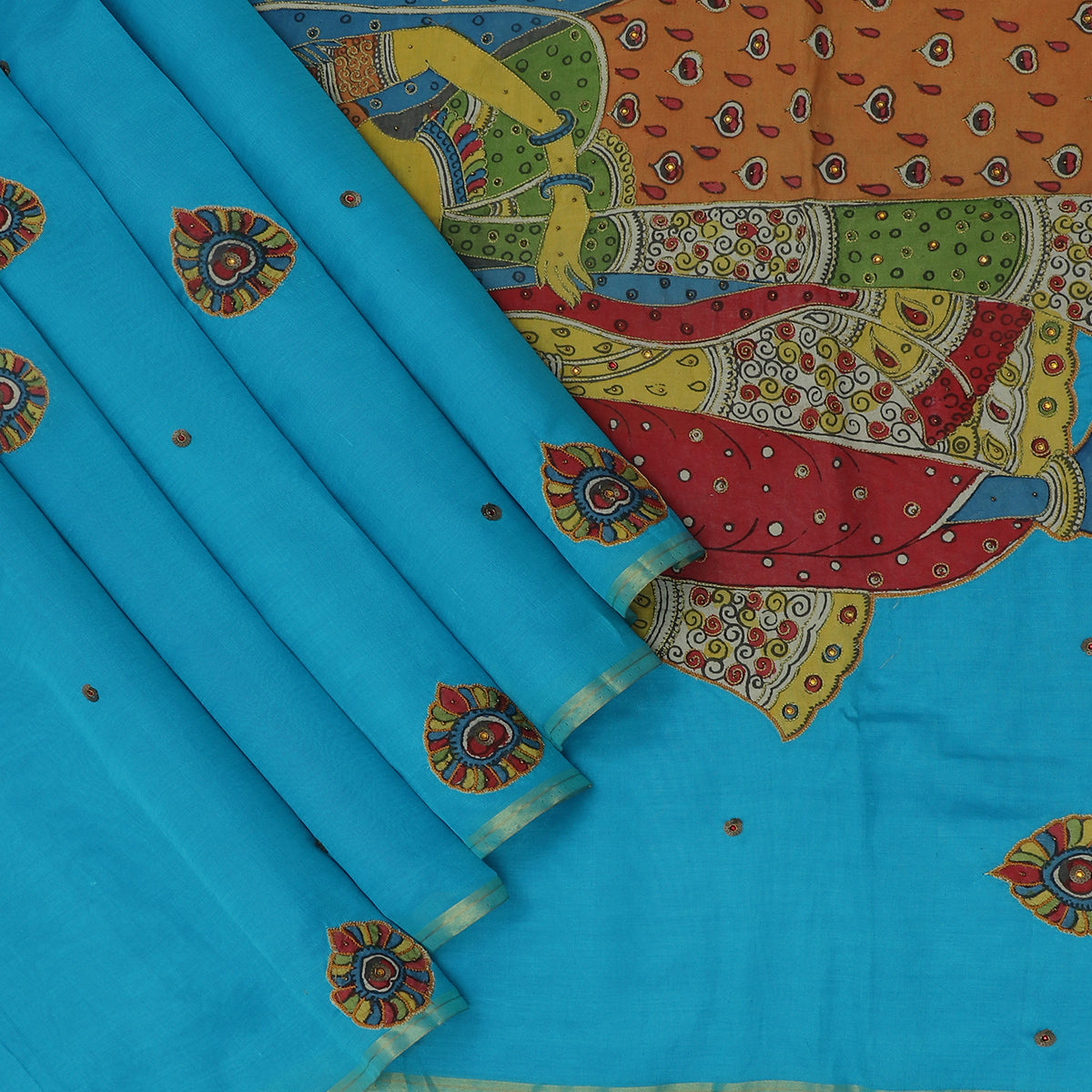 Silk Cotton Saree-Sky Blue with simple border and Embroidery Kalamkari applique work with kalamkari Blouse