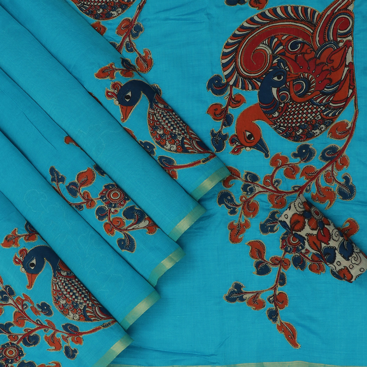 Silk Cotton Saree-Sky Blue with simple border and Kalamkari applique work with kalamkari Blouse