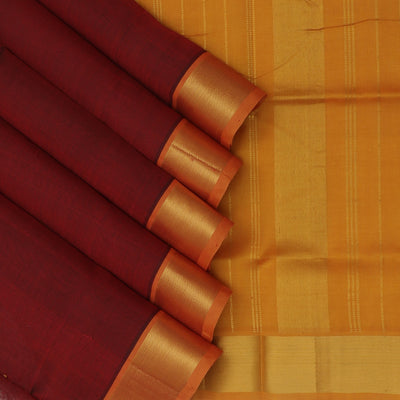 Silk Cotton Saree-Dark Maroon and Honey Color with Simple zari border