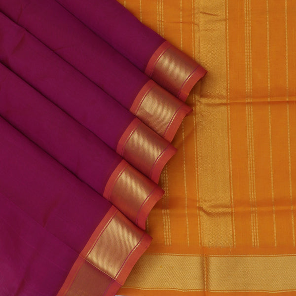 Silk Cotton Saree-Magenta and Honey Color with Simple zari border