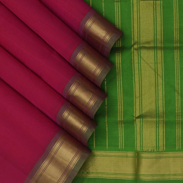 Silk Cotton Saree-Magenta and Mehandi Green with Simple zari border