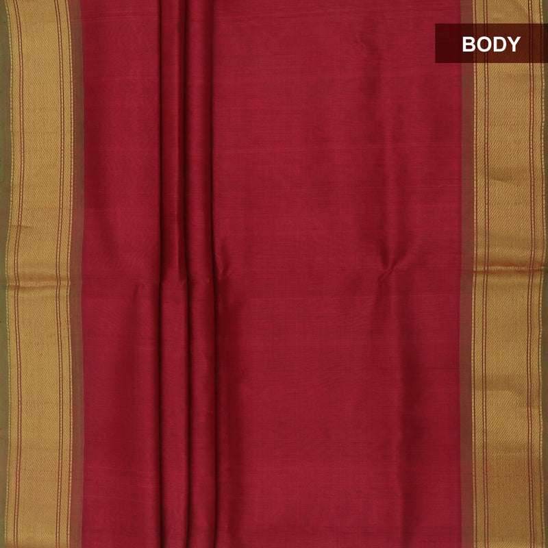 Silk Cotton Saree-Red and Mehandi Green with Simple zari border