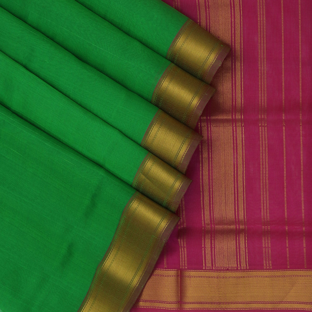 Silk Cotton Saree-Green and Pink with Simple zari border