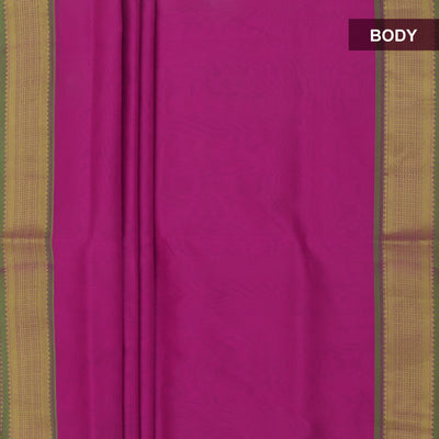 Silk Cotton Saree-Pink and Green with Simple zari border