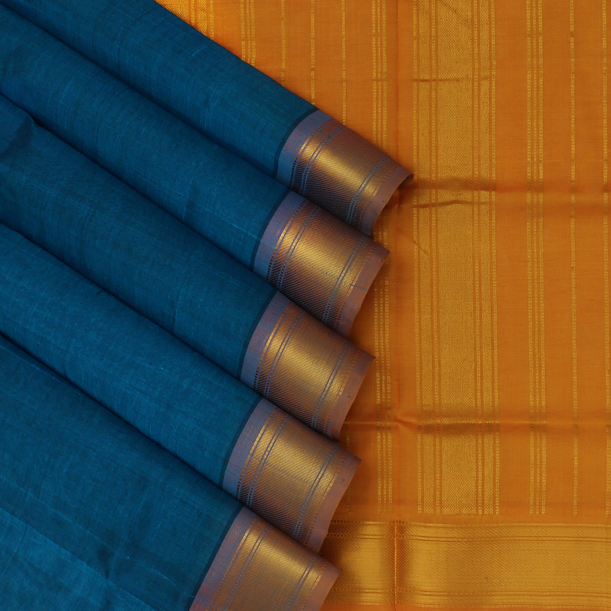Silk Cotton Saree-Peacock Blue and Honey Color with Simple zari border