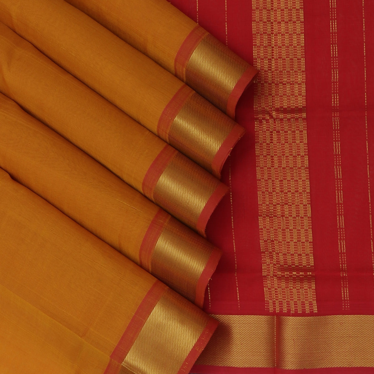 Silk Cotton Saree-Honey Color and Red with Mango zari border