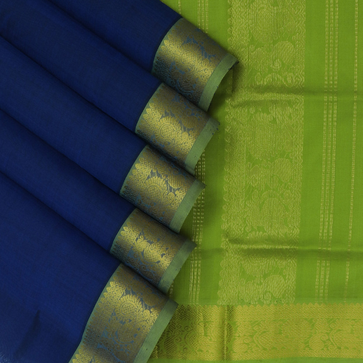 Silk Cotton Saree-Blue and Mehandi Green with Annam zari border