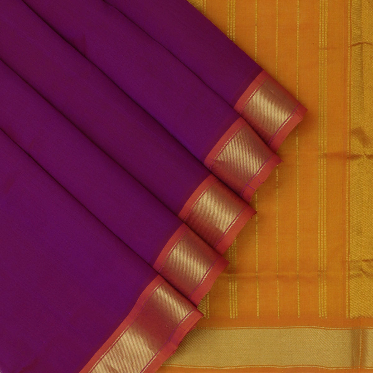 Silk Cotton Saree-Violet and Honey Color with Simple zari border