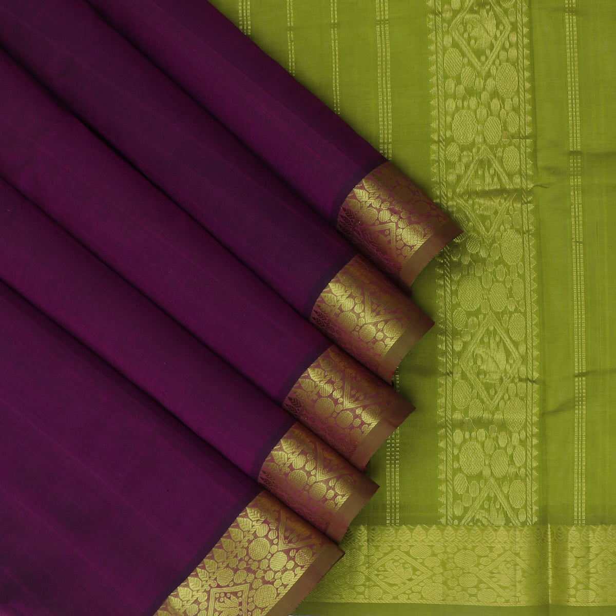 Silk Cotton Saree-Violet and Mehandi Green with Buds zari border