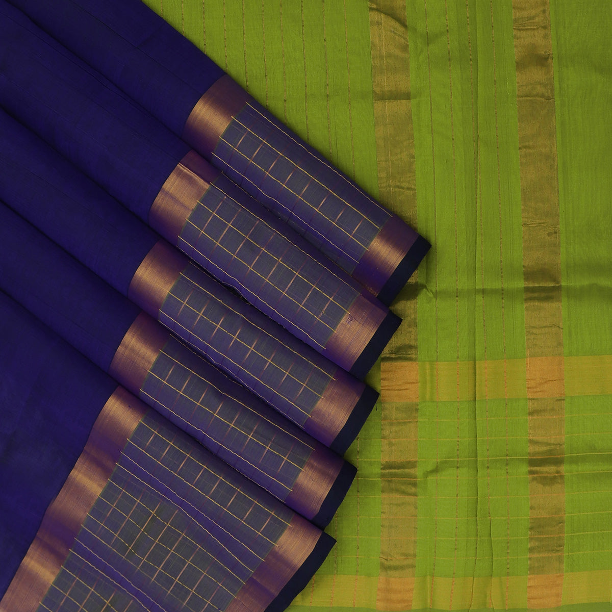 Silk Cotton Saree-Blue and Mehandi Green with Thread Gold Line and zari border