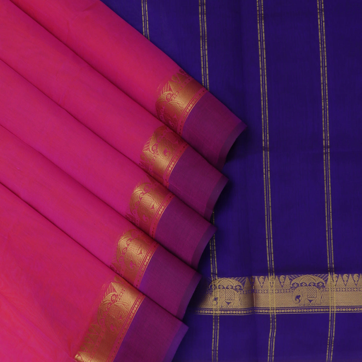 Silk Cotton Saree-Pink with red dual shade and Blue with Temple zari border