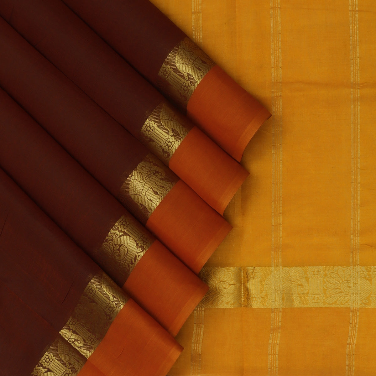Silk Cotton Saree-Maroon and Mustard with Annam zari border