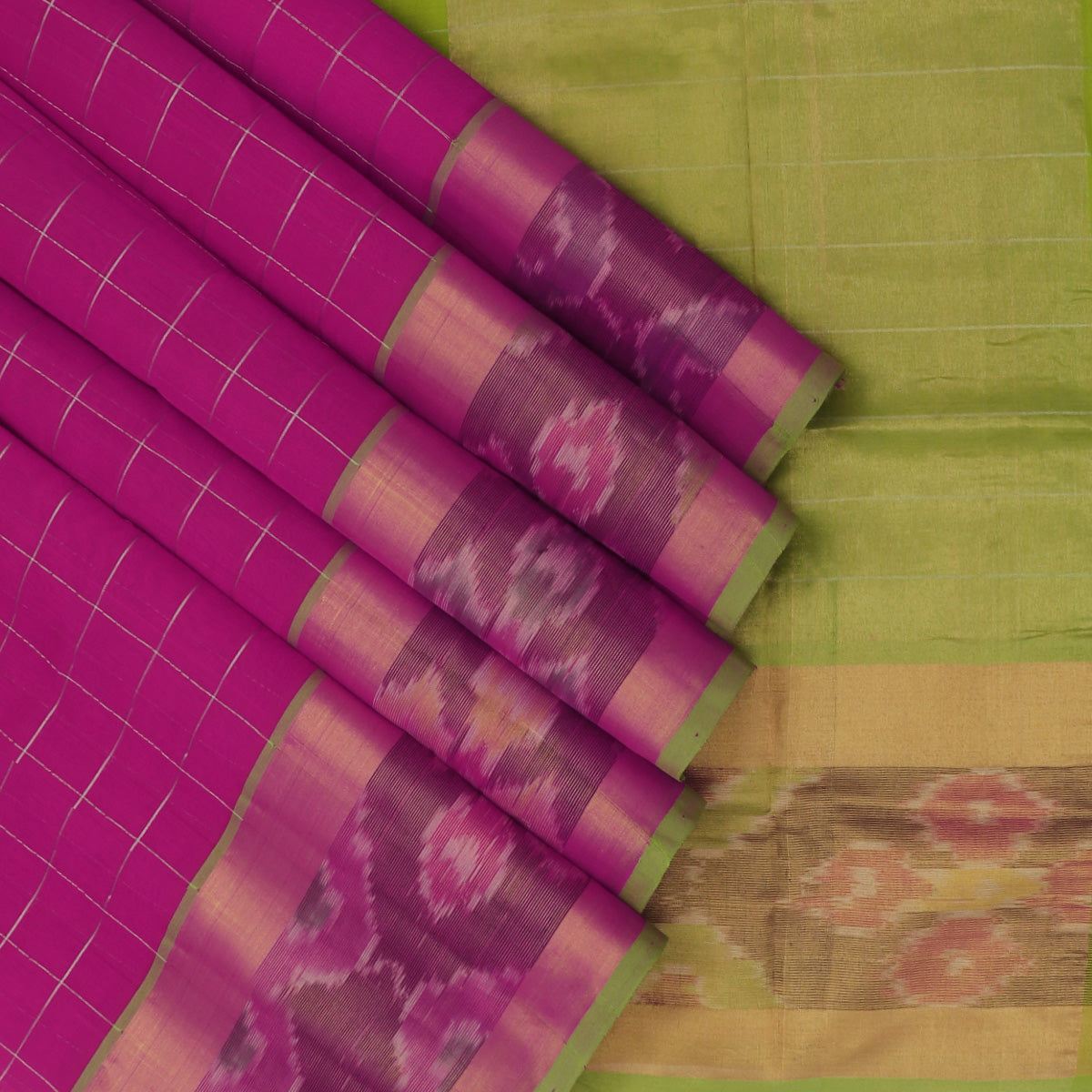 Silk Cotton Saree-Pink with Silver line and Mehandi Green with Ikkat border