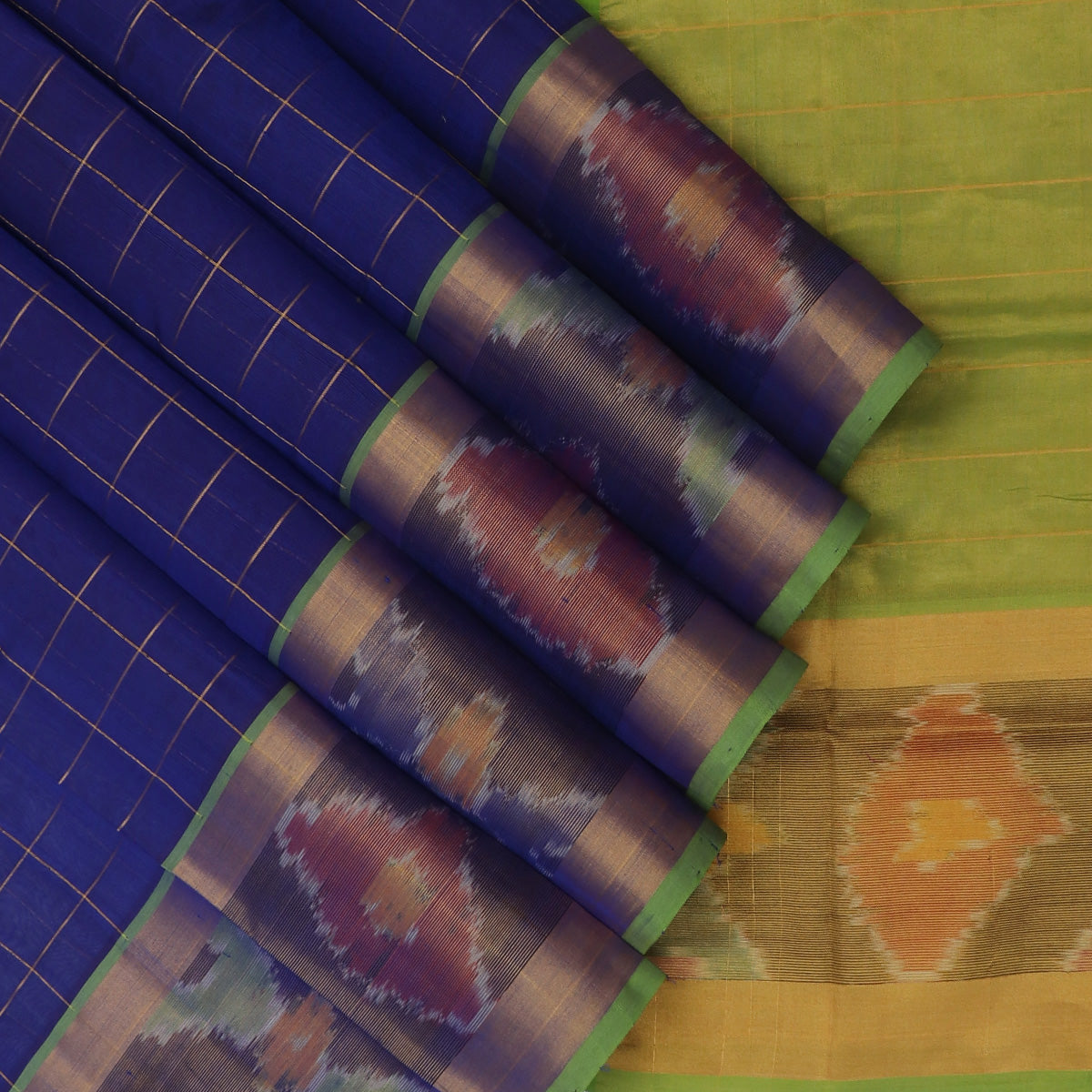 Silk Cotton Saree-Blue with Gold line and Mehandi Green with Ikkat border