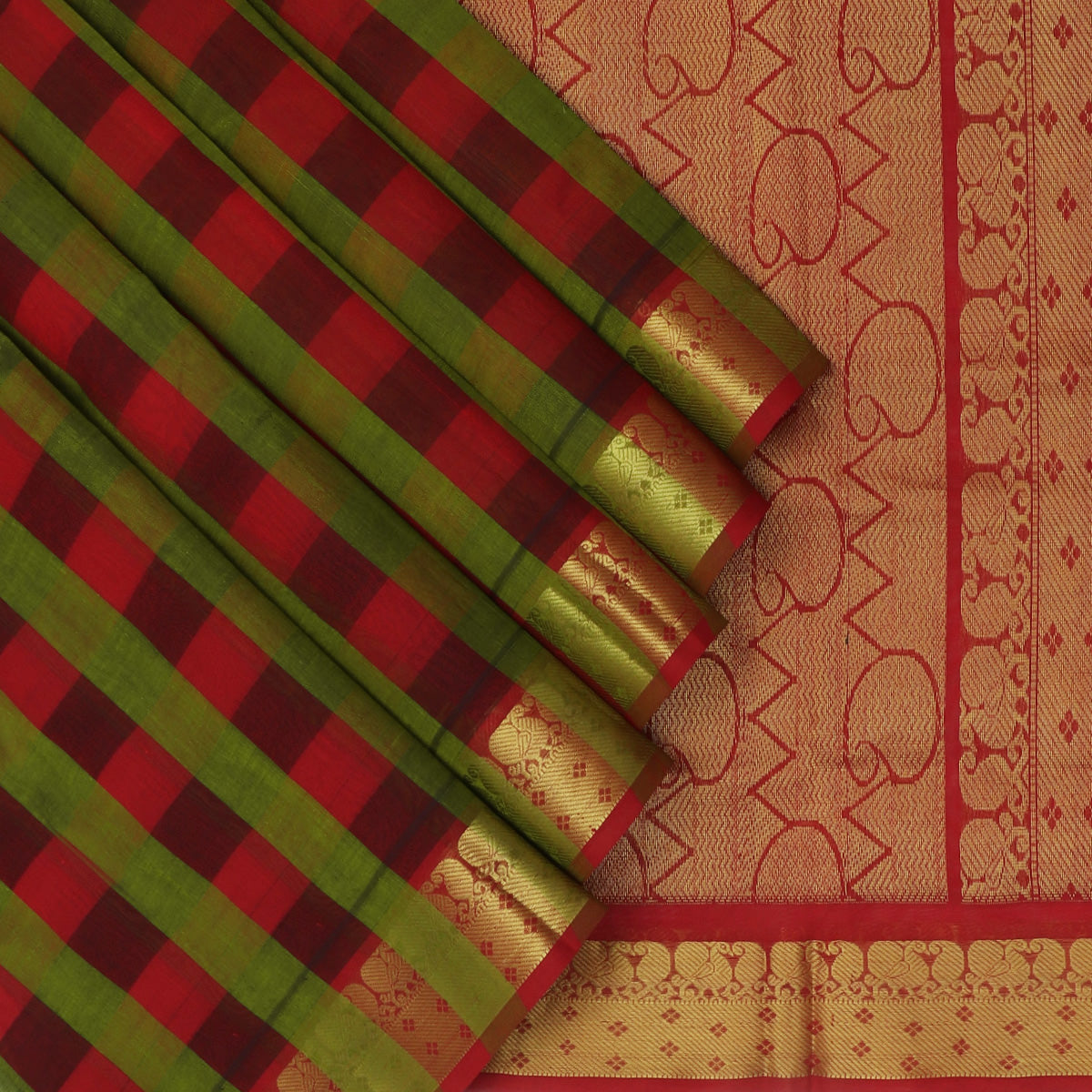 Silk Cotton Saree-Checked Red and Green with Mango zari border