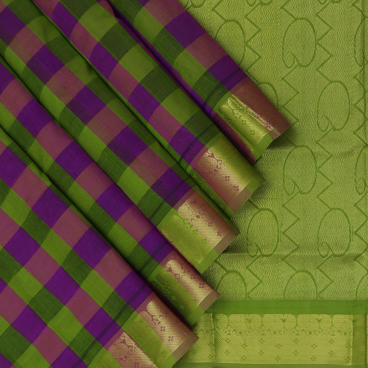 Silk Cotton Saree-Checked Violet and Mehandi Green with Mango zari border