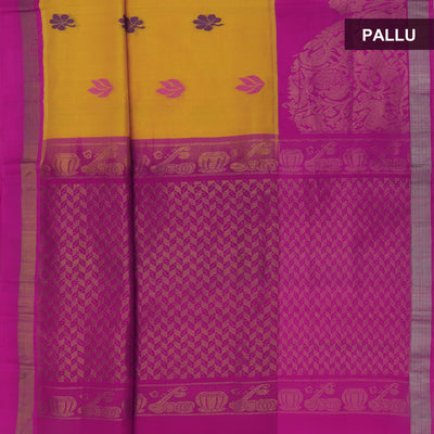 kuppadam Silk Cotton Saree-Yellow and Pink with Butta and Silk border