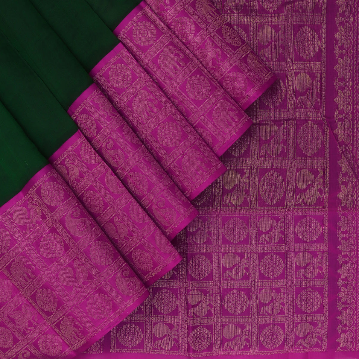 kuppadam Silk Cotton Saree-Dark Green and Pink with Silk border