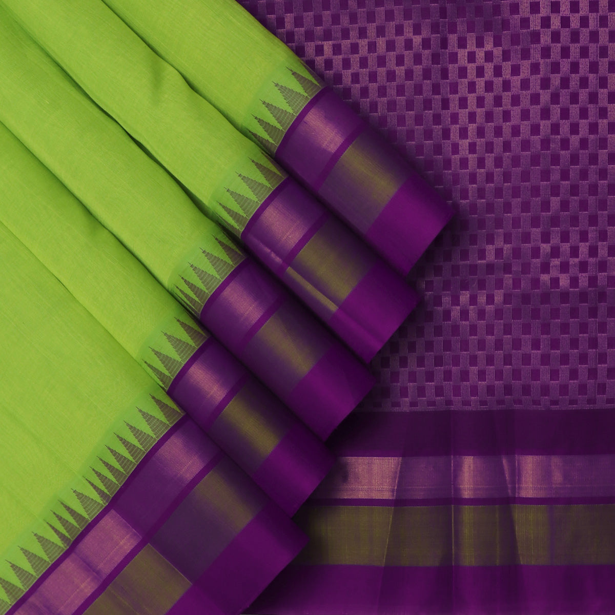 kuppadam Silk Cotton Saree-Pista Green and Violet with Silk border