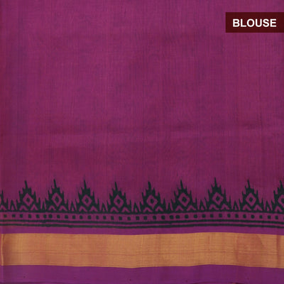 Printed Silk Cotton Saree Violet With Zari border