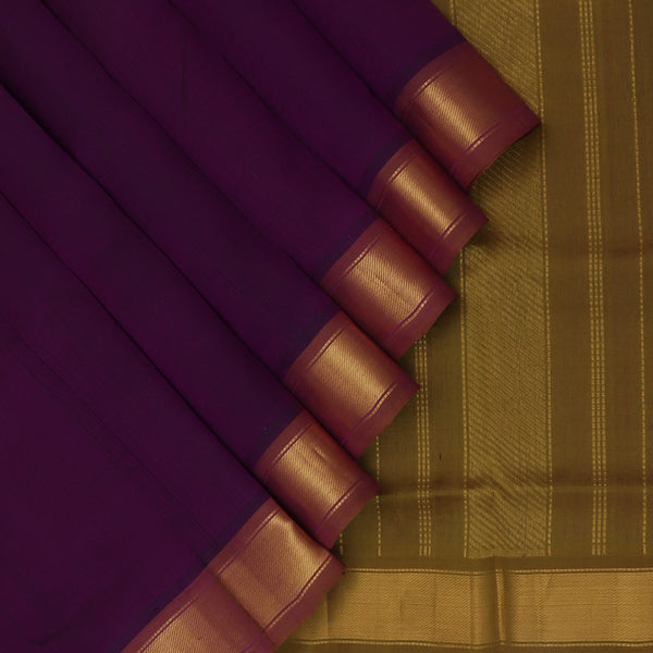 Silk Cotton Saree Violet and Moss Green with Zari border 9 yards