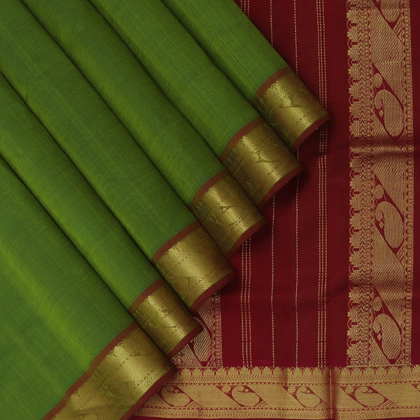 Silk Cotton Saree Mehandi Green and Maroon with Mango Zari border 9 yards